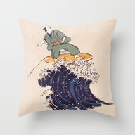 Surfing The Hokusai Wave Throw Pillow