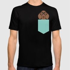 Remy - Daschund with Fashion glasses, hipster glasses, hipster dog, doxie,  SMALL Mens Fitted Tee Black