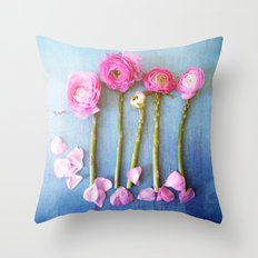 Wild Flowers and Spring Asparagus Throw Pillow