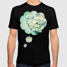 MINT HYDRANGEA Mens Fitted Tee Black SMALL