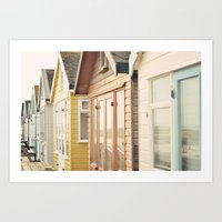 English Beach Huts Art Print