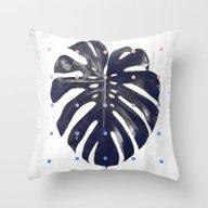 Monstera + Dots Throw Pillow