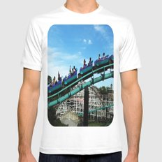 Rollercoaster White Mens Fitted Tee SMALL