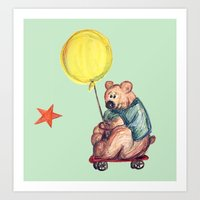 Mr. Bear is a talented scooterist Art Print