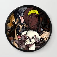 Wall Clock featuring Dogs. by BinaryGod.com