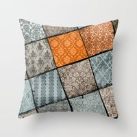 Vintage Material Quilt Throw Pillow