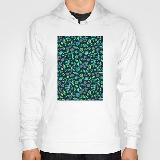 Neon Nature Doodles on Dark Denim Hoody