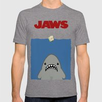 JAWS Movie Poster Mens Fitted Tee Tri-Grey SMALL