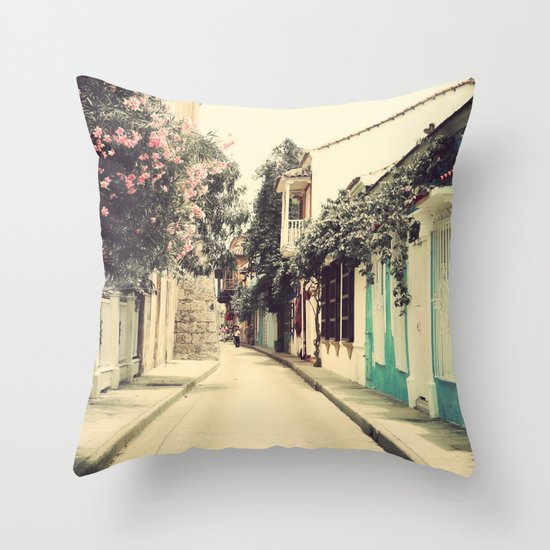 Just like a dream street (Retro and Vintage Urban, architecture photography) Throw Pillow