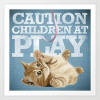 A funny baby cat playing with a pink ribbon - Caution, children at play! Art Print