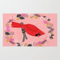 Northern Cardinal by Andrea Lauren  Rug