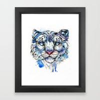 Icy Snow Leopard Framed Art Print
