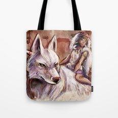Miyazaki's Mononoke Hime - San and the Wolf TraDigital Painting Tote Bag