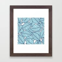 Sweet leafs: Aqua Navy Framed Art Print