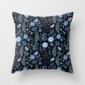 Vintage floral pattern on a black background Throw Pillow