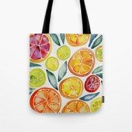 Sliced Citrus Watercolor Tote Bag