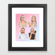 Framed Art Print featuring Glam Girls by Sara Eshak