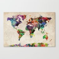 Canvas Print featuring World Map Urban Watercol… by ArtPause