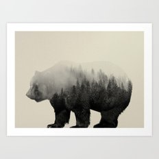Bear In The Mist Art Print