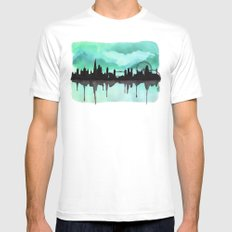 Mint Green London Skyline 2 Mens Fitted Tee SMALL White