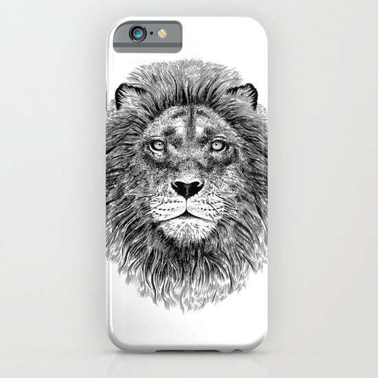 Black+White Lion iPhone & iPod Case