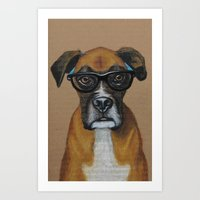 Hipster Boxer Dog Art Print