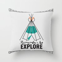 Please Remember to Explore Dear Throw Pillow