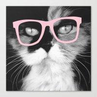 Hippest Cat 1 - Rose Canvas Print