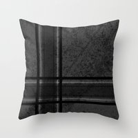 Grungy Grey Plaid Throw Pillow