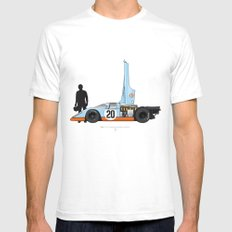 Outline Series N.º4, Steve McQueen, Porsche 917, Le Mans movie 1971 Mens Fitted Tee SMALL White