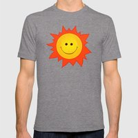 Smiling Happy Sun Mens Fitted Tee Tri-Grey SMALL