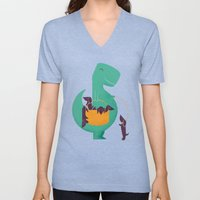 T-Rex And His Basketful … Unisex V-Neck
