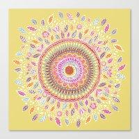 Yellow Sunflower Mandala Canvas Print
