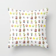 Mario Characters Waterco… Throw Pillow