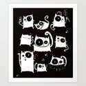 cats on black Art Print