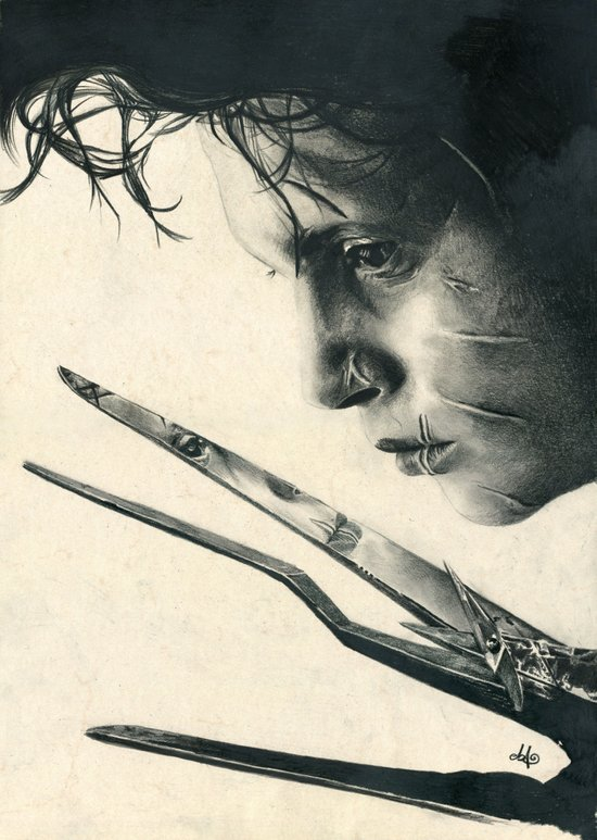 Edward Scissorhands ~ Johnny Depp Traditional Portrait Print Art Print