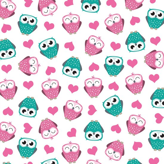 Owls and Hearts II Art Print