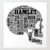 Shakespeare's Hamlet Skull Art Print