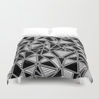 Abstract Outline Lines Black Duvet Cover