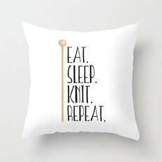 Eat Sleep Knit Repeat Throw Pillow