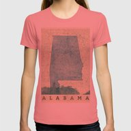 Alabama Map Blue Vintage Womens Fitted Tee Pomegranate X-LARGE