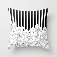 Cherry Blossom Stripes - In Memory of Mackenzie Throw Pillow