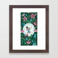 Mouse Amongst The Flowers Framed Art Print