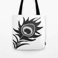 Peacock Greyscale Tote Bag