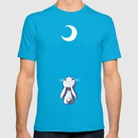 Moon Bunny Mens Fitted Tee Teal SMALL