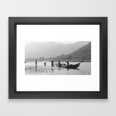 Life on the Godavari River Framed Art Print