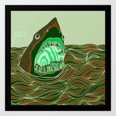 Piano Shark Art Print