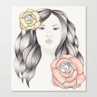 Whimsical Face with Pastel Roses Canvas Print