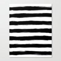 Black Paint Strokes Stripes Canvas Print