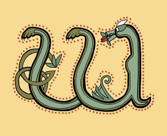 Celtic Dragon Letter W version 3.0 Art Print
